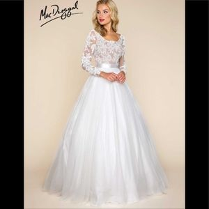 Mac duggal illusion lace tulle ballgown